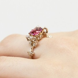 AbHeri - Pink tourmaline Diamond Ring