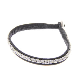 MARIA RUDMAN - Pewter Embroidered Leather Bracelet