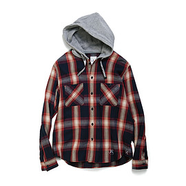 uniform experiment - INDIGO BIG CHECK SWEAT HOOD SHIRT