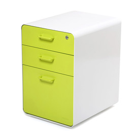 poppin - White + Lime Green West 18th File Cabinet