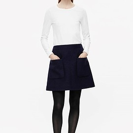 COS - A-line wool skirt in Midnight Blue