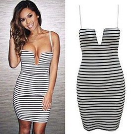 Sexy Low-cut V-neck Slim Fit Sling Striped Dress