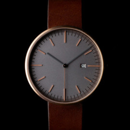 Uniform Wares - Primary photograph of product '203 Series (PVD Rose Gold / Walnut Leather)'