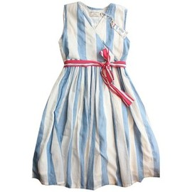 Blue & white stripe croquet dress with pink sash