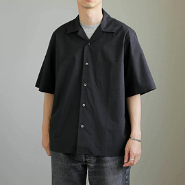 AURALEE - SELVEDGE WEATHER CLOTH OPEN COLLARED H/S SHIRTS #ink black