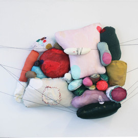Marie J.engelsvold - No title, 2013, mixed media, fabric, textile on canvas