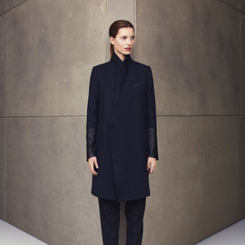 bassike - navy cashmere coat