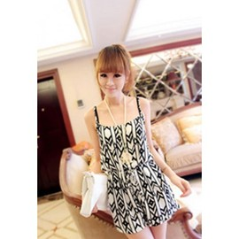 dress - European Street-chic Style Geometric Figure Print Strap Rompers
