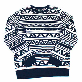 Vintage Mens Goods - Navy Blue Triangle Print Sweater Mens Size Large