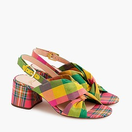 J.CREW - Twisted-knot Penny sandals in plaid