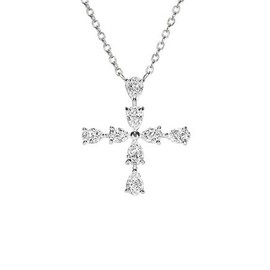 HARRY WINSTON - Pear shaped Diamond Mini Cross Pendant