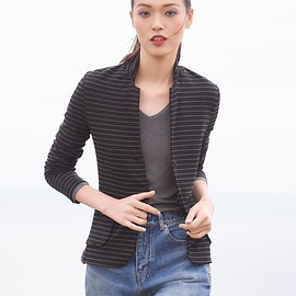 Majestic Paris for Neiman Marcus - Majestic Paris for Neiman Marcus Soft Touch Striped Single-Breasted Blazer