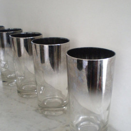 Vintage Silver Fade Rim Glasses / High Ball Barware