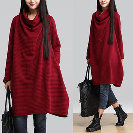 etsy - Wine red plaid sweater pile collar / cotton pullover A word big swing