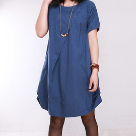 dress - cotton pleated loose dress shirt In blue