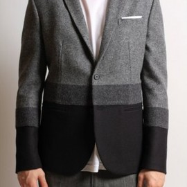Neil Barrett - Tonal Stripe Blazer in Grey