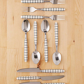 Slide View: 1: 12-Piece Wonky Grid Flatware Set