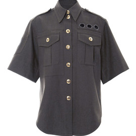 MARC JACOBS - SS2015 Short Sleeve Military Melange Suiting Shirt
