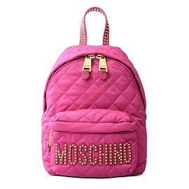 MOSCHINO - Moschino Studded Logo Women Quilted Techno Fabric Backpack Rose