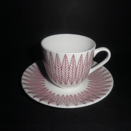 "Gustavsberg - ""Salix"" Cup & Saucer (red) by Stig Lindberg"