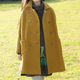 yellow Overcoat - Women winter Clothing oversized loose double breasted wool coat yellow Overcoat
