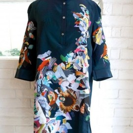 huihui - HUI HUI shirts dress placement print  /collage petrol