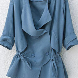European Style Leisure Double Breast Pure Candy Color Trench Coat