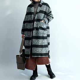 large size maxi coat - Loose winter long wool Overcoat stripes large size maxi coat