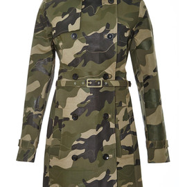 VALENTINO - Waxed Cotton-Canvas Camouflage Trench Coat