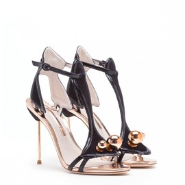 SOPHIA WEBSTER - MOLLIE BLACK AND ROSE GOLD LEATHER SANDAL