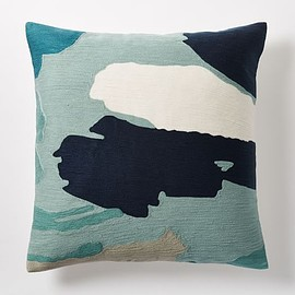 west elm - Modern Brushstroke Crewel Pillow Cover - Light Pool