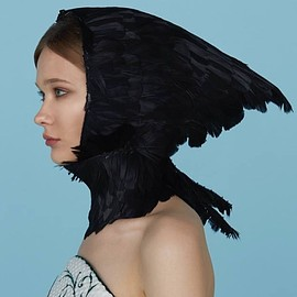 Ulyana Sergeenko - SS2015 Haute Couture Embroidered Feathers Head Piece