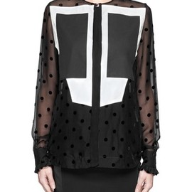 GIVENCHY - Chiffon polka dot bi-colour geometric front blouse