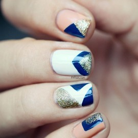 peach, blue and gold nails