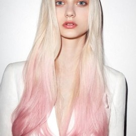 Long platinum blonde hair with pink dip dye