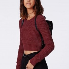 missguided - Berte Cropped Knitted Jumper Burgundy