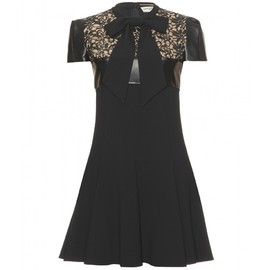 SAINT LAURENT PARIS - DRESS WITH LEATHER AND LACE APPLIQUÉ