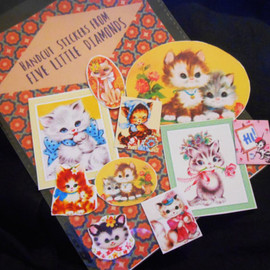 FiveLittleDiamonds - Pack of 10 Handcut Glossy Retro Kitty Cat Stickers Set- Funny Retro Stationary