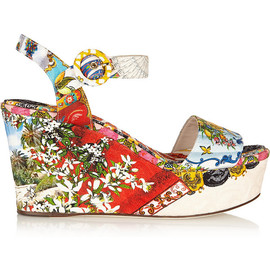 DOLCE&GABBANA - Printed brocade wedge sandals