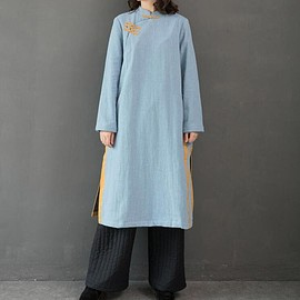 winter dress - Light blue winter dress, Standing collar dress, Long dress for women