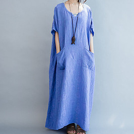 Dress - Cotton Loose Fitting Maxi Dress oversized loose Short sleeve long dress