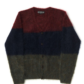 bal - STRIPE MOHAIR V NECK  CARDIGAN SWEATER