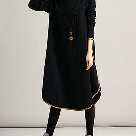 dress - Cotton Leisure high collar long large size dress in black/ red/ khaki/ blue