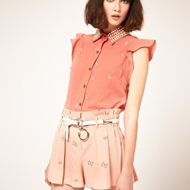 ASOS - Nishe Pearl Embellished Collar Blouse with Bow Embroidery