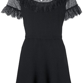 REDValentino - Lace and point d'esprit-paneled stretch-knit mini dress