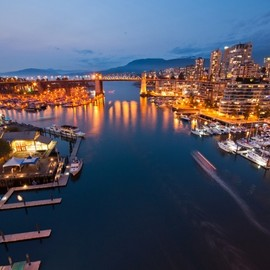 Vancouver - Granville Island night aerial view