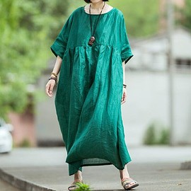 Women's Dresses - Linen Dress, pockets dresses, Women Oversized dresses, Long travel gown