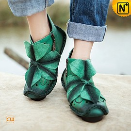 cwmalls - Ladies Handmade Applique Leather Shoes Boots CW305035