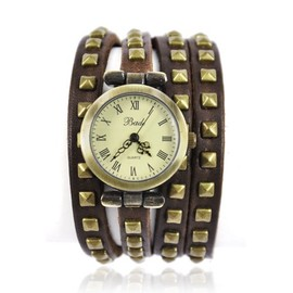 alanat - Leather Strap with Rivet Wrap Watch