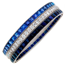 Cartier - Art Deco Diamond Sapphire & Platinum Bangle Bracelet